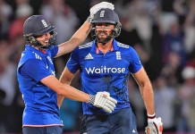 LIAM PLUNKETT hit the final ball for a six to tie the first ODI with Sri Lanka